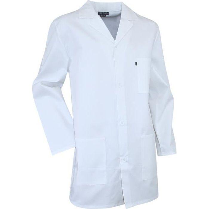 blouse de laboratoire blanche manches longues blanc achat vente tunique blouse cdiscount. Black Bedroom Furniture Sets. Home Design Ideas