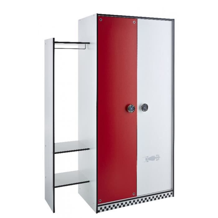 armoire 2 portes rally rouge et blanc achat vente armoire de chambre armoire 2 portes rally. Black Bedroom Furniture Sets. Home Design Ideas