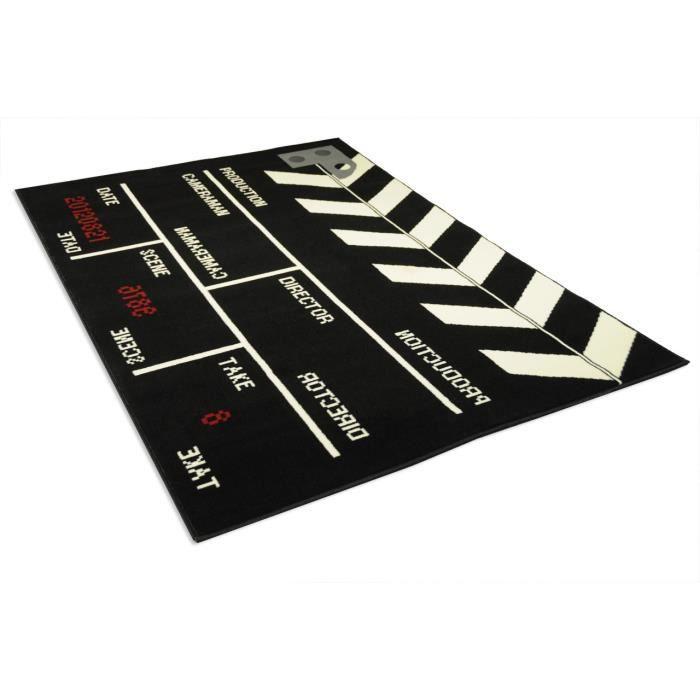 tapis salon clap de film noir universol achat vente tapis cdiscount. Black Bedroom Furniture Sets. Home Design Ideas