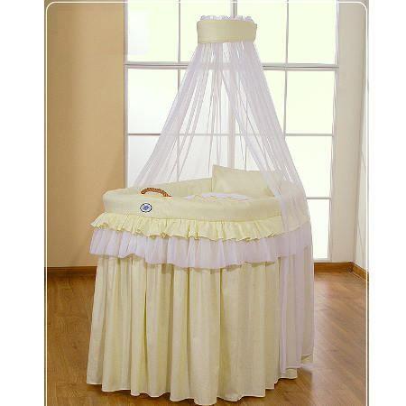 berceau b b en osier complet avec textile jaune achat vente berceau et support. Black Bedroom Furniture Sets. Home Design Ideas