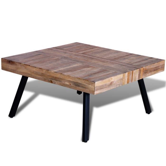 table basse carr e en bois de teck recycl de style vintage table d 39 appoint 80 x 80 x 40 cm. Black Bedroom Furniture Sets. Home Design Ideas