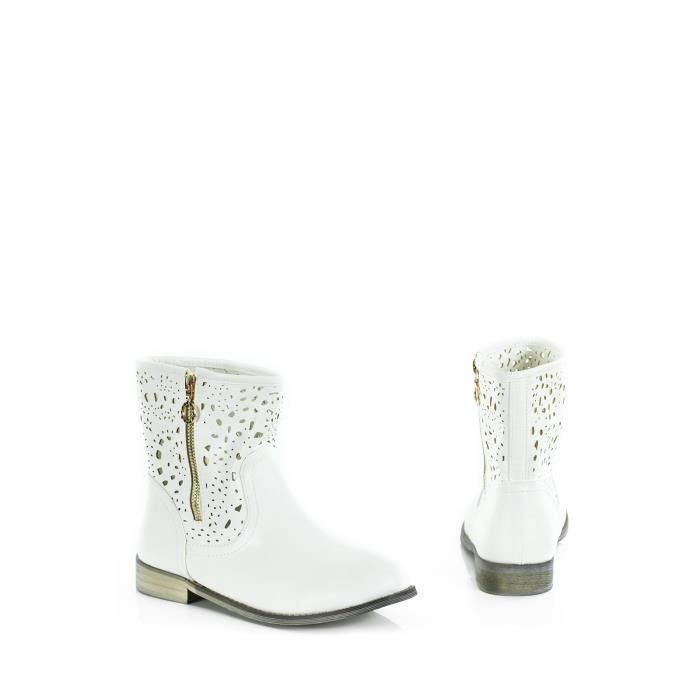 chaussures femme bottines blanches  e f mp