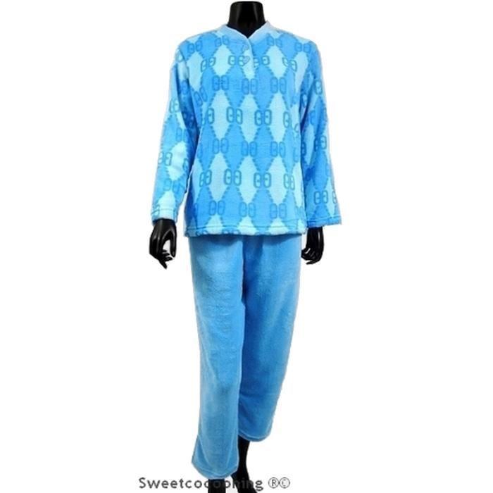pyjama femme chaleur confort en doux pilou bleu bleu achat vente chemise de nuit cdiscount. Black Bedroom Furniture Sets. Home Design Ideas