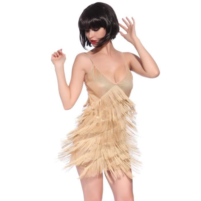 Robe a franges paillet e style charleston gatsby 20s 8 couches pour soiree carnaval dance - Robe style charleston pour mariage ...