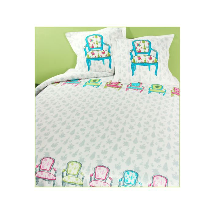 Parure grand lit paris versailles turquoise achat for Parure de lit paris