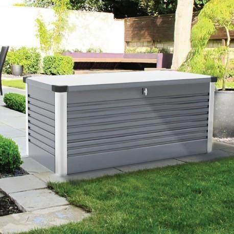Coffre en m tal gris clair 1000l patio box 1 46m achat for Grand coffre de rangement exterieur