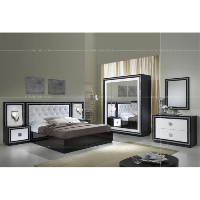 Kristel laque noir et blanc chambre a coucher ensemble armoire 4 portes lit 160 200 2 for Chambre a coucher gris et noir
