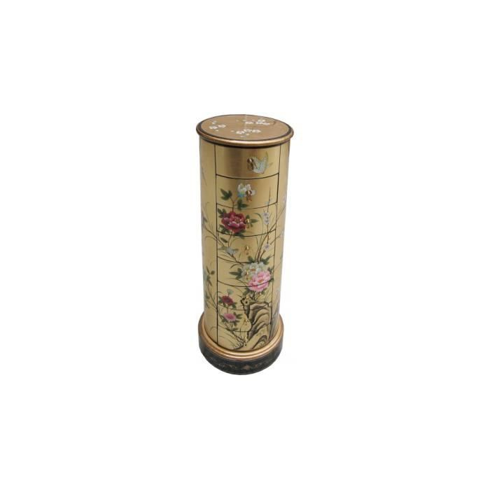 Semainier colonne chinois laque d 39 or 8 tiroirs achat for Destock meubles chinois