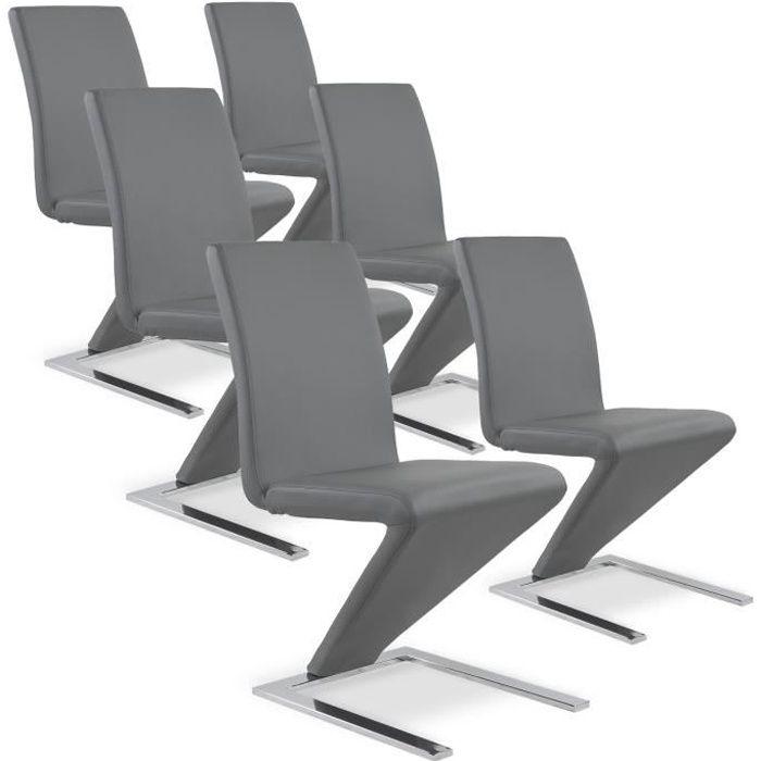 Lot de 6 chaises delano gris achat vente chaise gris - Lot de 6 chaises design ...