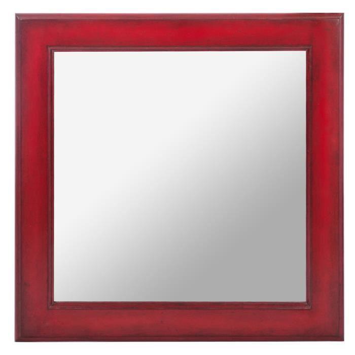 Miroir carr en bois coloris rouge dimensions 50 cm h for Miroir rouge