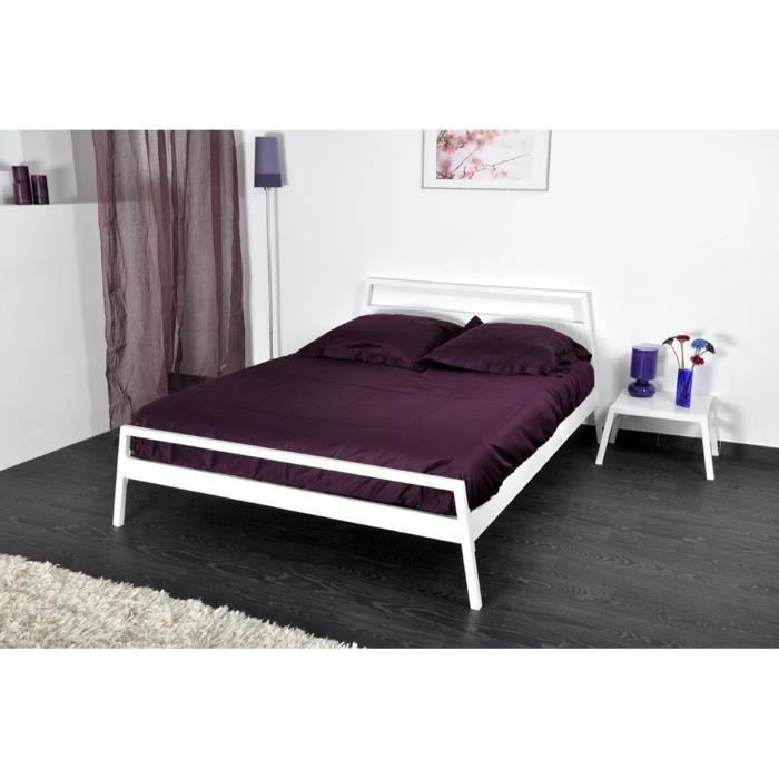 lit design en m tal blanc dolce achat vente structure de lit cdiscount. Black Bedroom Furniture Sets. Home Design Ideas