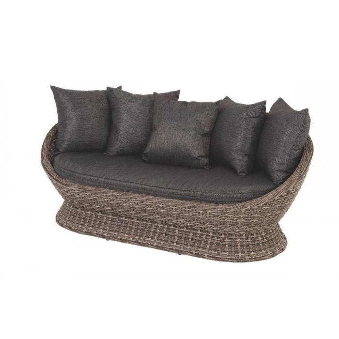 Canape cocoa exterieur gris wood hesperide achat vente for Fauteuil exterieur gris