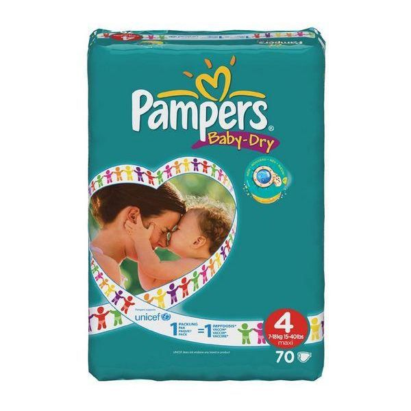 Pampers baby dry couches taille 4 maxi 7 18 kg 56 couches - Couches pampers baby dry taille 4 pas cher ...