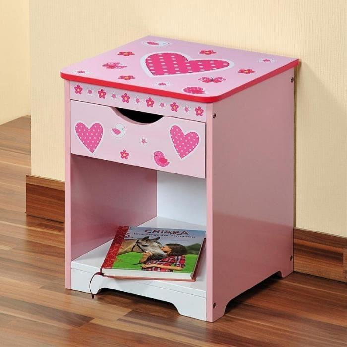 meuble de chevet pour chambre d 39 enfant coeurs achat. Black Bedroom Furniture Sets. Home Design Ideas