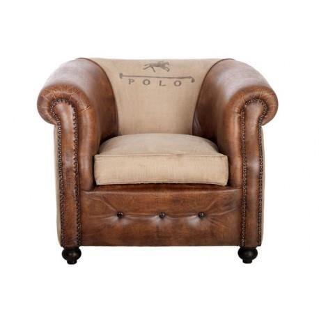 Fauteuil club vintage polo pieds cuir marron vieilli et tissu cr me pieds en - Fauteuil cuir vieilli vintage ...