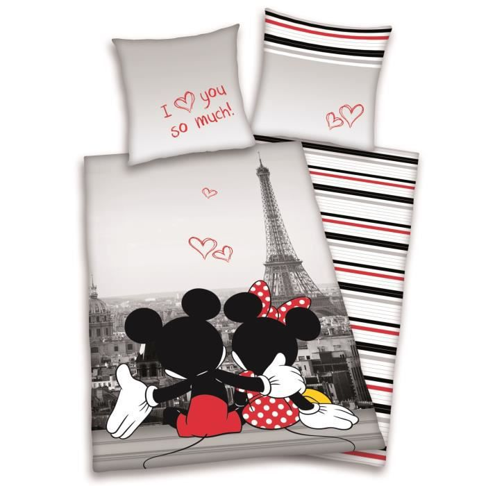 housse de couette enfant mickey minnie paris 140. Black Bedroom Furniture Sets. Home Design Ideas