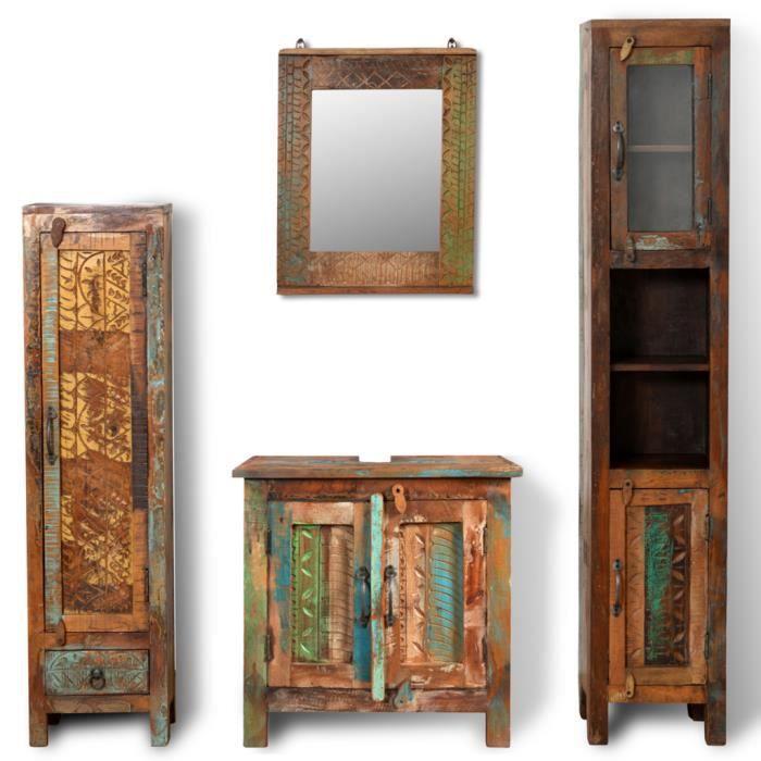 Armoires vintage de salle de bains en bois massif recycl for Miroir antique en bois