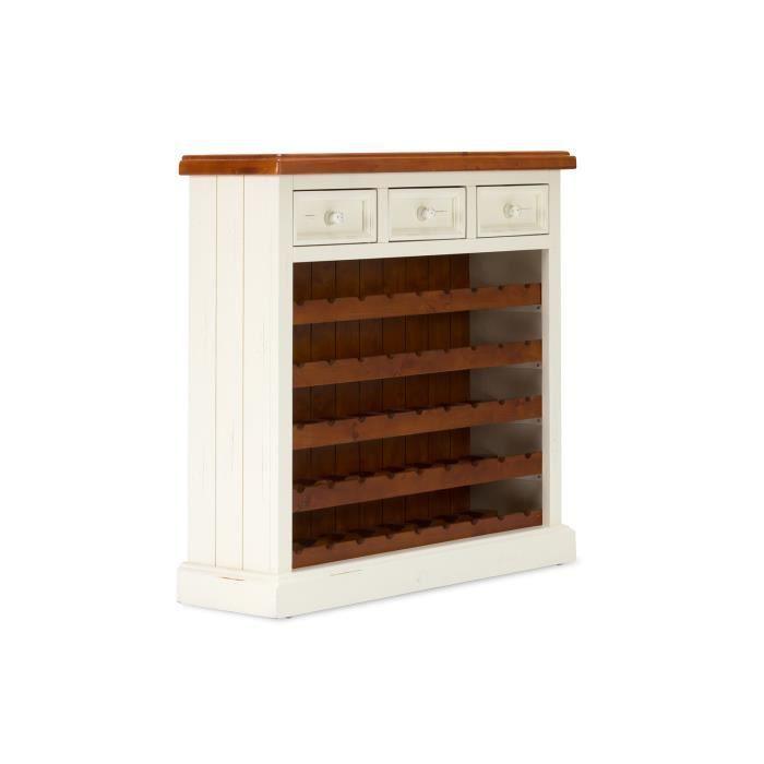 meuble vin finca en pin blanc et marron achat vente meuble range bouteille un design. Black Bedroom Furniture Sets. Home Design Ideas