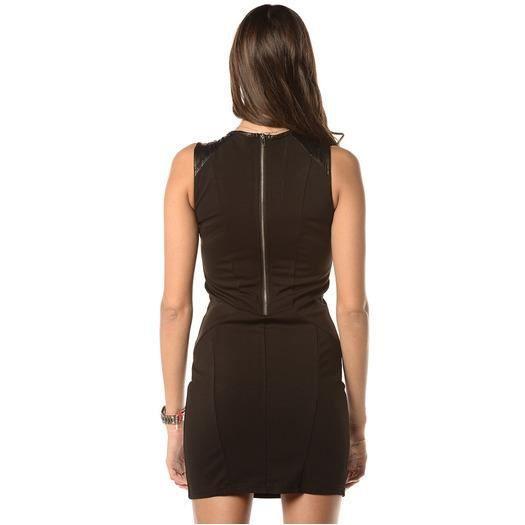simili cuir Noir Noir Achat   Vente robe Robe 3 zips et simili cuir 66091696f9e3