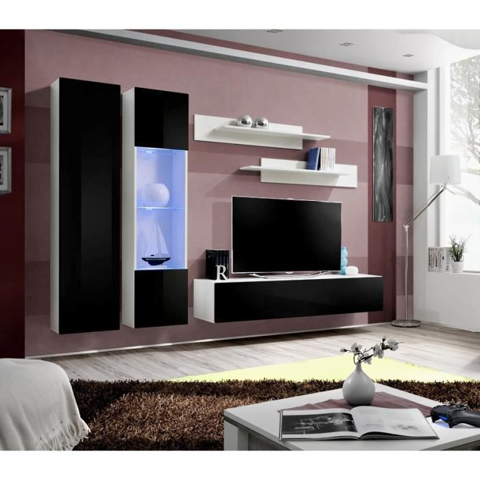 ensemble de s jour montego i fa ade noir laqu e achat. Black Bedroom Furniture Sets. Home Design Ideas