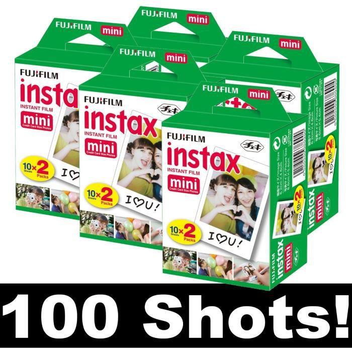 fujifilm instax mini film lot de 5x 20 films pou achat vente pack accessoires photo. Black Bedroom Furniture Sets. Home Design Ideas