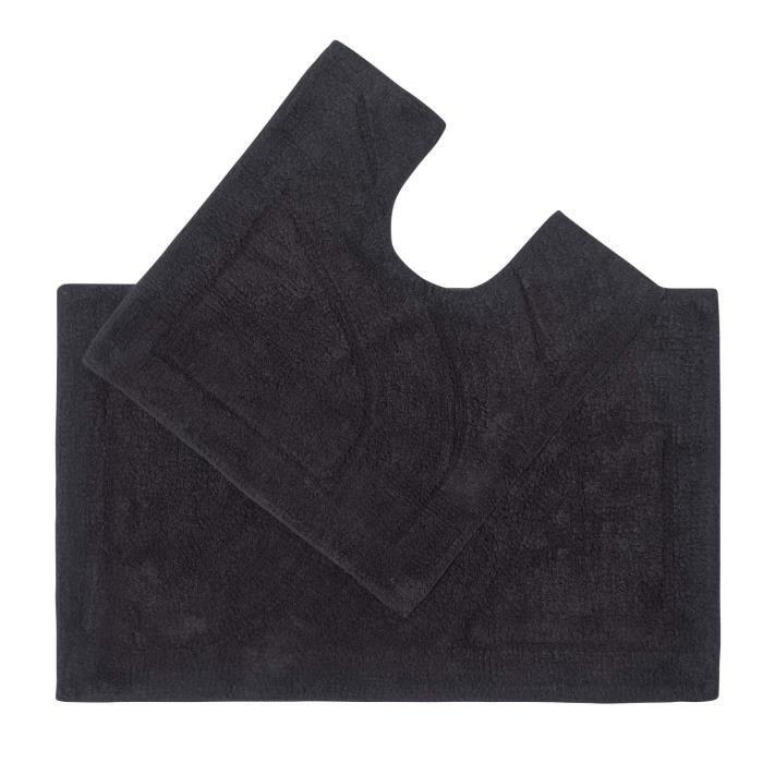 tapis de bain haut de gamme 2 pi ces noir achat vente tapis de bain 5055967428287 cdiscount. Black Bedroom Furniture Sets. Home Design Ideas