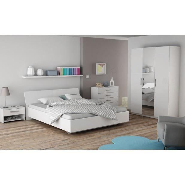 ensemble jaipur lit 160x200cm 2 chevets 1 tiroir commode 4 tiroirs achat vente. Black Bedroom Furniture Sets. Home Design Ideas