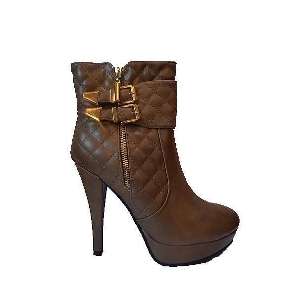 bottine femme talon aiguille marron sexy marron marron achat vente bottine soldes d t. Black Bedroom Furniture Sets. Home Design Ideas