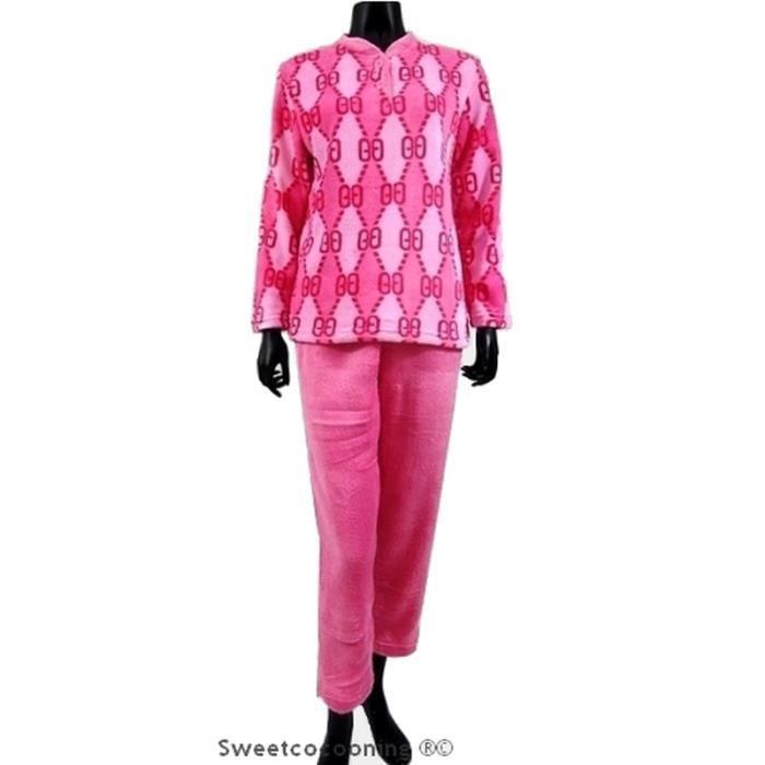 Pyjama femme chaleur confort en doux pilou rose rose achat vente chemise de nuit cdiscount - Femme mure en chaleur ...