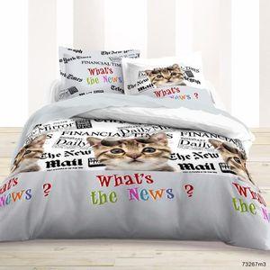 housse de couette chat achat vente housse de couette chat pas cher cdiscount. Black Bedroom Furniture Sets. Home Design Ideas