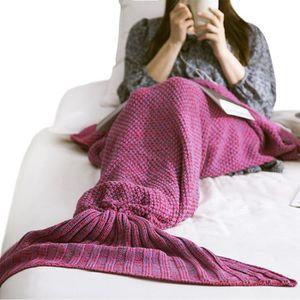 COUVERTURE - PLAID Plaid Mermaid Tail Tricoté Sac de Couchage Crochet