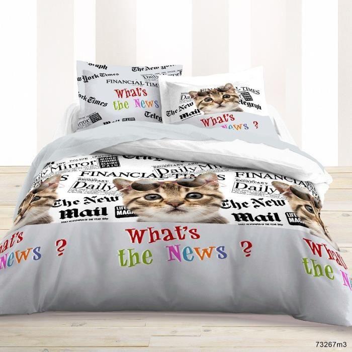 housse de couette en coton 240x220 cm 2 taies chat new cat achat vente parure de couette. Black Bedroom Furniture Sets. Home Design Ideas
