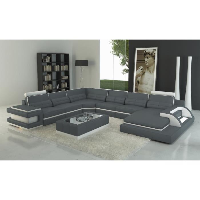 canap d 39 angle panoramique design cuir gris et blanc. Black Bedroom Furniture Sets. Home Design Ideas