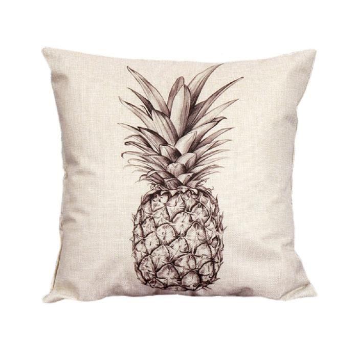 housse de coussin taie d 39 oreiller protecteur d coration 45cm motif ananas croquis achat. Black Bedroom Furniture Sets. Home Design Ideas