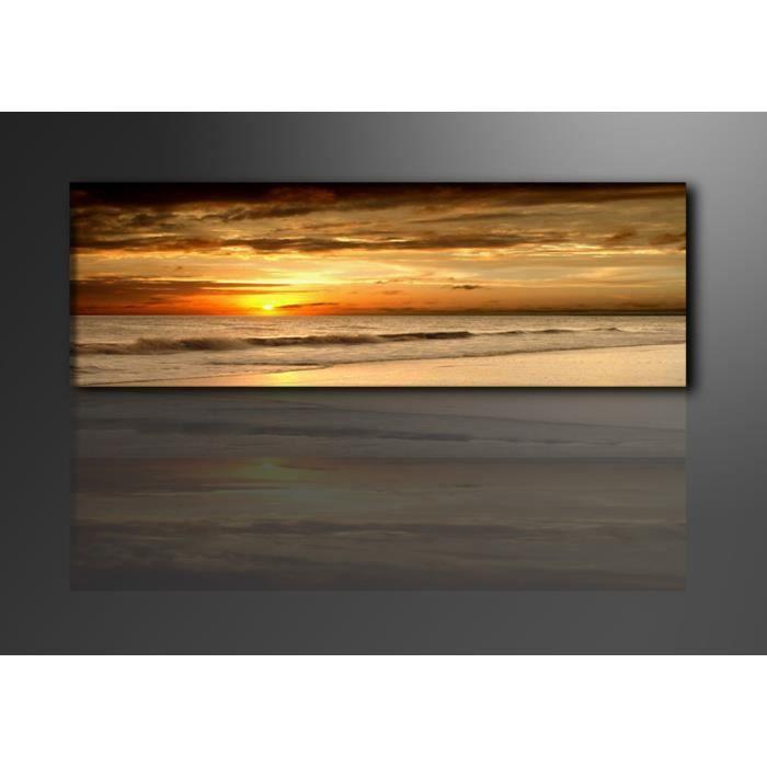 tableau panoramique imprim couche de soleil achat vente tableau toile toile bois. Black Bedroom Furniture Sets. Home Design Ideas