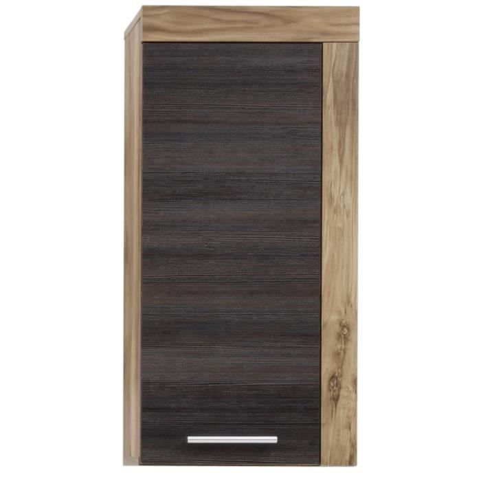 meuble de rangement mural coloris ch ne clair et brun fonc achat vente petit meuble. Black Bedroom Furniture Sets. Home Design Ideas