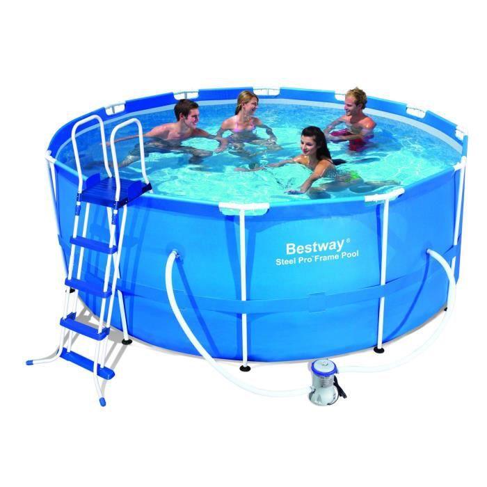 Kit piscine ronde steel pro frame pools bleue d 366cm h for Piscine bestway metal frame pro ovale