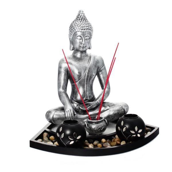 bouddha et bougeoirs sur plateau achat vente statue statuette r sine mdf cdiscount. Black Bedroom Furniture Sets. Home Design Ideas