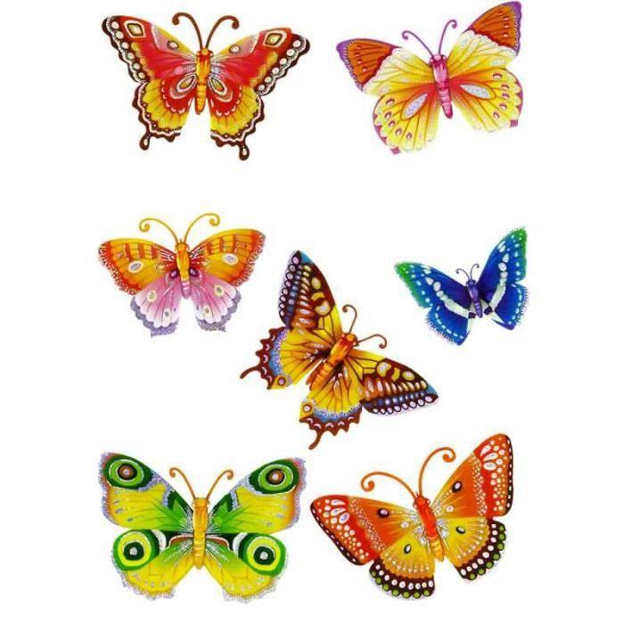 Paris prix stickers 3d papillons orange achat for Decoration murale papillon 3d