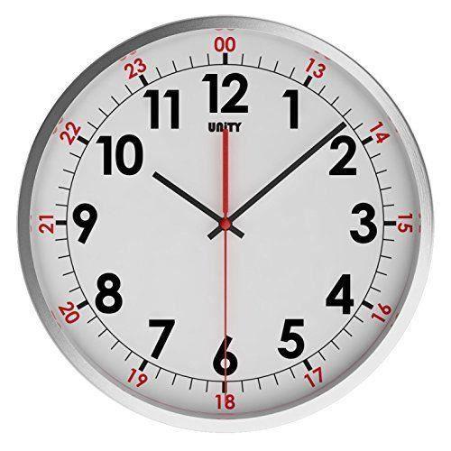 unity 30 cm 12 cm inox avon horloge murale silencieuse blanc achat vente horloge les. Black Bedroom Furniture Sets. Home Design Ideas