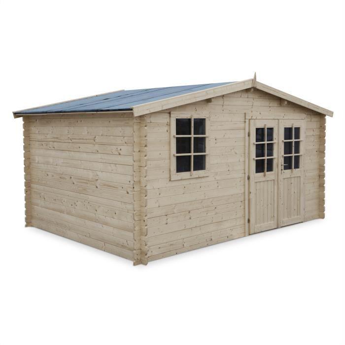Abri de jardin iraty en bois fsc de 12 28m structure en madriers sapin s c - Abri de jardin c discount ...