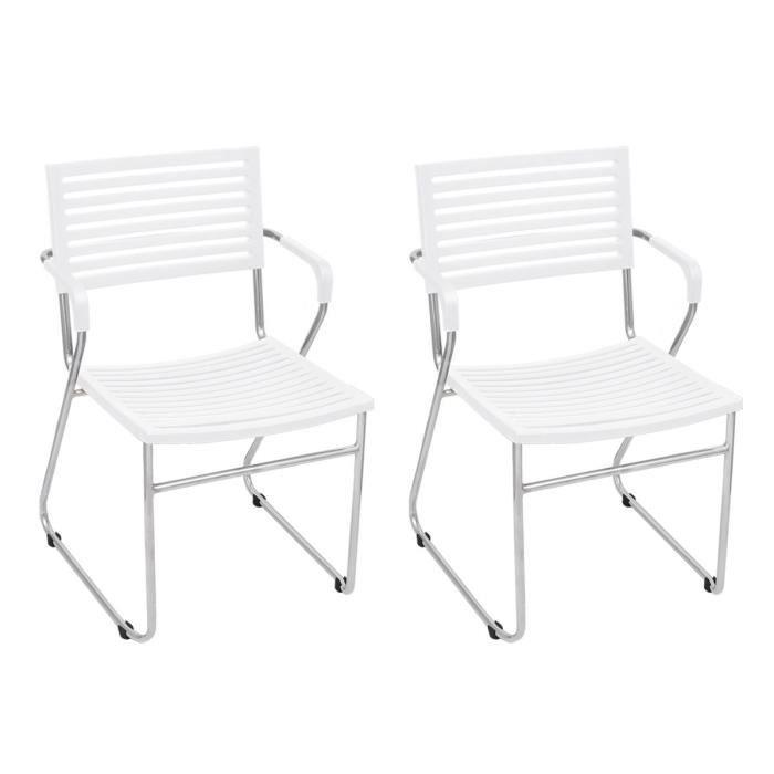 2 chaises empilable avec accoudoir blanc achat vente. Black Bedroom Furniture Sets. Home Design Ideas