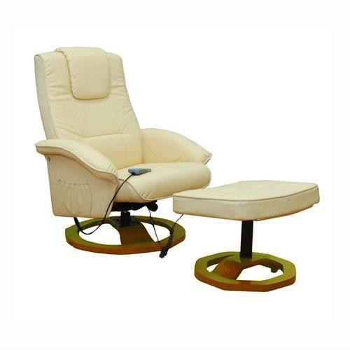 Fauteuil massant chauffant cuir beige achat vente fauteuil cuir bois te - Fauteuil chauffant massant ...