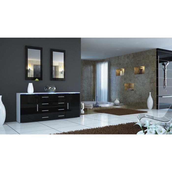 Buffet enfilade blanc et noir laqu 166 cm achat vente for Enfilade blanc laque