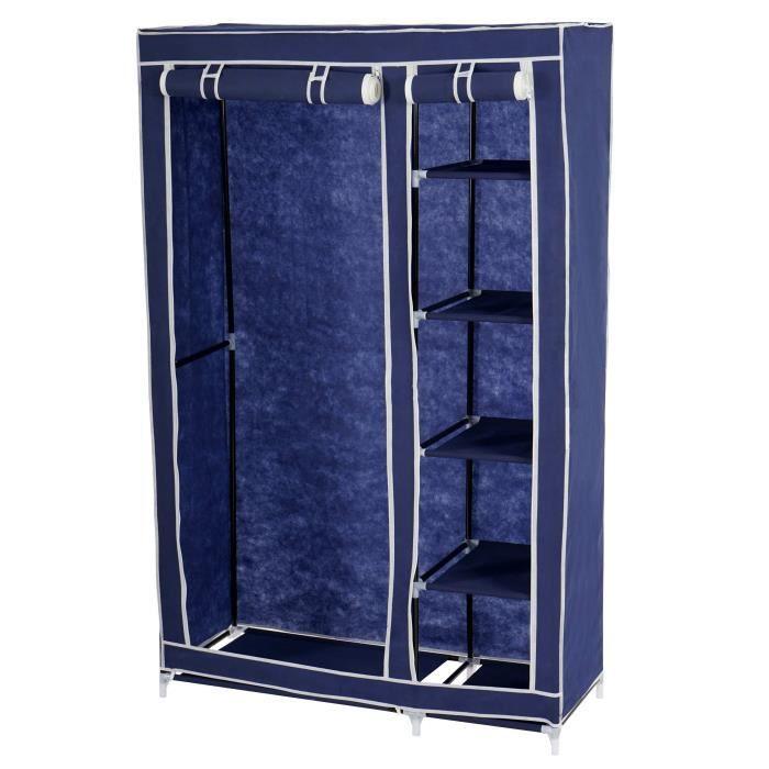 armoire penderie pliante tissu de camping 173x110x45 cm bleu achat vente penderie souple. Black Bedroom Furniture Sets. Home Design Ideas