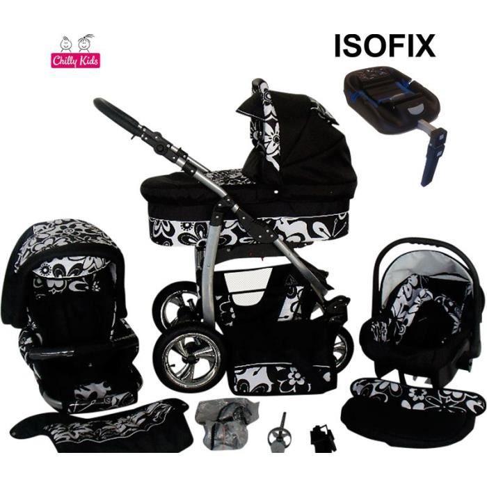 dino poussette trio isofix nacelle poussette canne si ge auto chanceli re 05 noir fleurs blanc. Black Bedroom Furniture Sets. Home Design Ideas