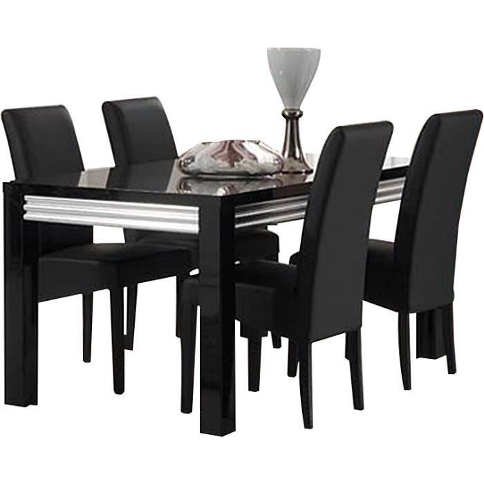 Table Manger 160 Cm 4 Chaises Noire En Pu Achat