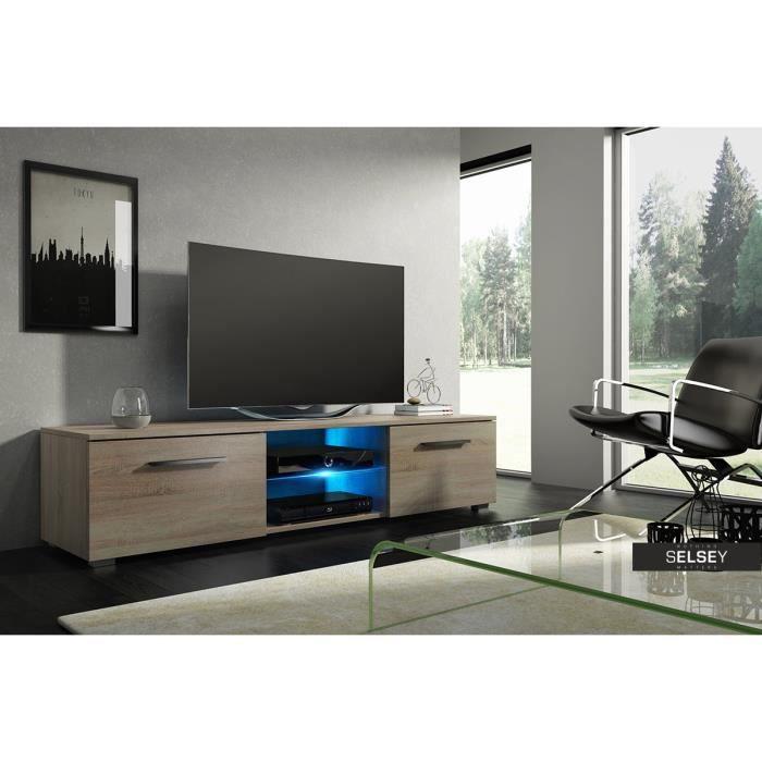 meuble tv tenus sonoma clair avec led achat vente meuble tv meuble tv tenus sonoma clair. Black Bedroom Furniture Sets. Home Design Ideas