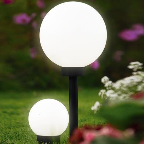 Brema boule solaire plastique 25x50cm 123139 achat for Lampe boule exterieur