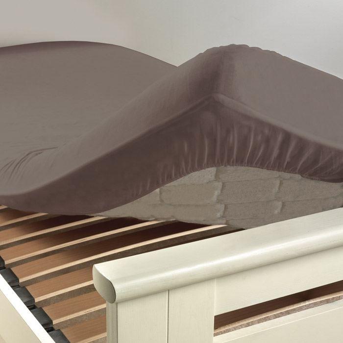Drap housse en 90 cm lit uni coloris ombre achat vente for Drap housse lit evolutif